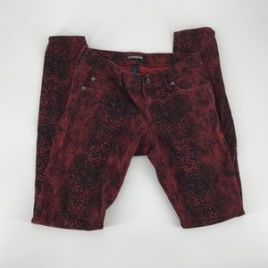 express snake skin red jeans